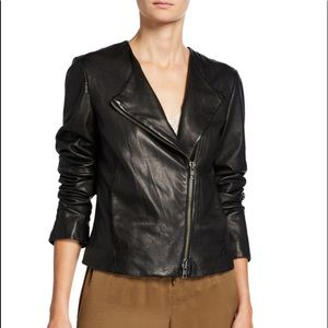 Vince Cross chanel Front Leather Moto Jacket sz m